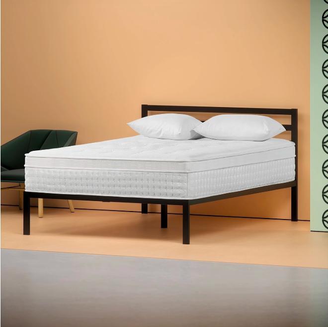 Euro Top Mattress on a Metal bed frame