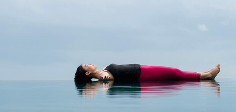 A woman practicing yoga nidra