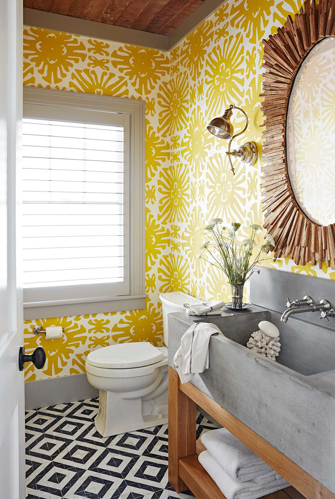 A shower room with yellow color