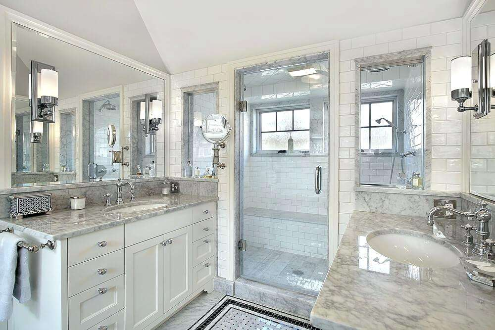 A beautiful shower room with premium marbles